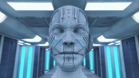 Humanoid head and futuristic room Stock Photos