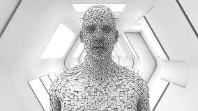 Humanoid head and futuristic room Royalty Free Stock Photography