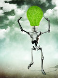 Humanoid with light bulb head Stock Photos