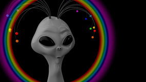 Humanoid That Radiates a Rainbow. Humanoid gray with the antennas on his head Stock Image