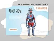 Humanoid robot, android z sztuczną inteligencją Robota przedstawienie Wektorowy illutration, projekta miejsce szablon, chodnikowi Zdjęcie Royalty Free