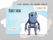 Humanoid robot, android z sztuczną inteligencją Robota przedstawienie Wektorowy illutration, projekta miejsce szablon, chodnikowi Obraz Royalty Free
