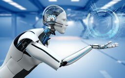 Free Humanoid Robot Assistant At Your Service Royalty Free Stock Photography - 187499737