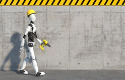 A humanoid robot builder in a construction helmet and a drill in his hand steps along a concrete wall.  Future concept with