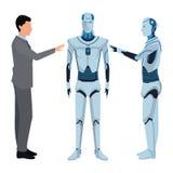 Humanoid robot and businessman royalty free illustration