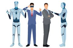 Humanoid robot and businessmen. Wearing virtual reality headset vector illustration graphic design stock illustration