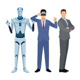 Humanoid robot and businessmen. Wearing virtual reality headset vector illustration graphic design vector illustration