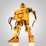 Humanoid robot. 3D rendering: golden humanoid robot Royalty Free Stock Images