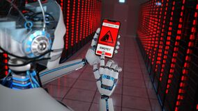Free Humanoid Robot Data Center Emotet Detection Stock Photos - 188854903