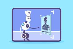 Humanoid robot doctor examining x-ray photograph cyborg recognizing patient radiography artificial intelligence medicine vector illustration
