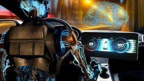 Free Humanoid Robot Driving Car, Vision Of Artificial Intelligence In Automotive Royalty Free Stock Photos - 144461068