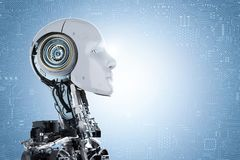 Humanoid robot face. 3d rendering humanoid robot on blue circuit background stock photo