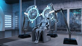 Free Humanoid Robot, Female Android Sitting In A Chair In A Sci-fi Lab, Cyborg Production Assembly Line, 3D Render Royalty Free Stock Image - 121008526