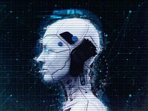 Humanoid robot girl Artificial intelligence Background - 3d renderlpaper-3D render vector illustration