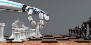 Humanoid Robot Hand Chessboard stock images