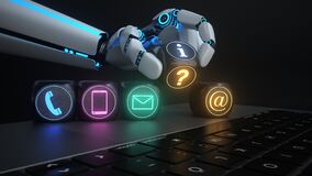 Free Humanoid Robot Hand Contact Cube Notebook Royalty Free Stock Images - 188378569