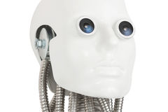 Humanoid robot head  on white Royalty Free Stock Images