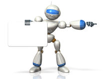 Humanoid robot indicates the direction. Royalty Free Stock Photography