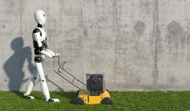 A humanoid robot mows grass with a lawn mower. Future concept with robotics and artificial intelligence. 3D rendering