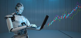 Free Humanoid Robot Notebook Candle Stick Chart Growth Royalty Free Stock Images - 148859089