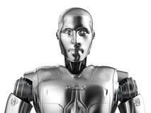 Humanoid robot portrait. 3d rendering humanoid robot portrait isolated on white vector illustration