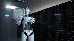 Free Humanoid Robot Protection Shield Server Room Stock Image - 187499691