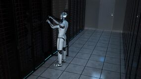 Free Humanoid Robot Server Room Maintenance Stock Photography - 187860792
