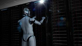 Free Humanoid Robot Server Room Maintenance Royalty Free Stock Photos - 187860798