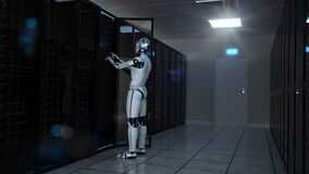 Free Humanoid Robot Server Room Maintenance Stock Images - 187860824