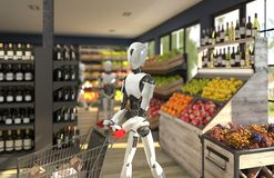 A humanoid robot with a shopping trolley is shopping at a grocery store. Future concept with robotics and artificial intelligence
