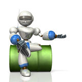 Humanoid robot sitting on drums will guide you. Stock Photography