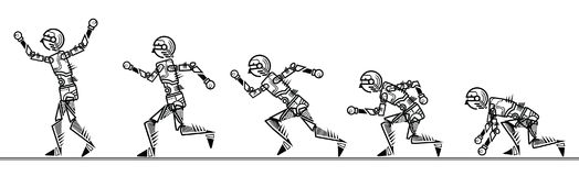 Humanoid robot step running on white background Royalty Free Stock Photography