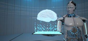 Free Humanoid Robot Tablet Human Brain Stock Images - 187499754