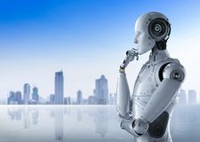 Humanoid robot thinking. 3d rendering humanoid robot thinking on cityscape background Stock Photography