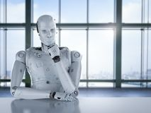 Humanoid robot thinking Royalty Free Stock Photography