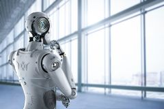 Humanoid robot thinking royalty free stock image