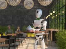 A humanoid robot waiter carries a tray of food and drinks in a restaurant. Artificial intelligence replaces maintenance staff. The