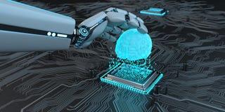 Humanoid robotAI-framkallning stock illustrationer