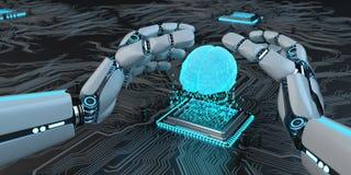 Humanoid robotAI-framkallning vektor illustrationer
