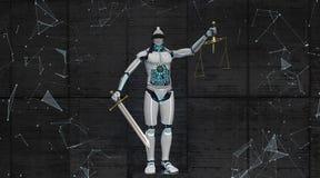 Humanoid Roboter Justitia lizenzfreie abbildung
