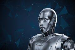 Humanoid Roboter mit Grafik anschließen lizenzfreie abbildung