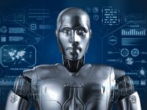 Humanoid Roboter mit hud vektor abbildung
