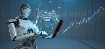 Humanoid Roboter-Notizbuch-Kerzenhalter-Diagramm-Wachstum lizenzfreie abbildung
