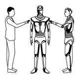 Humanoid Roboter und Gesch?ftsmann Schwarzweiss lizenzfreie abbildung