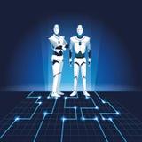 Humanoid robots avatars. With electronic floor vector illustration graphic design royalty free illustration