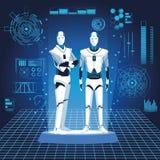 Humanoid robots avatars. With futuristic elements vector illustration graphic design royalty free illustration