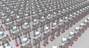 Humanoid robots. Standing in a row on a white surface. . 3D Illustration Stock Photography