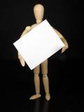 Humanoidpuppe mit schwarzem Hintergrund und weißem Zeichen stockfotos
