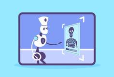 Humanoidrobot arts die x-ray foto onderzoeken die cyborg de geduldige geneeskunde van de radiografiekunstmatige intelligentie erk vector illustratie