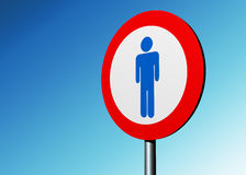 Humans ahead. Sign with a blue male figure on it Royalty Free Stock Images